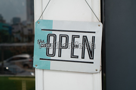 open sign on street cafe