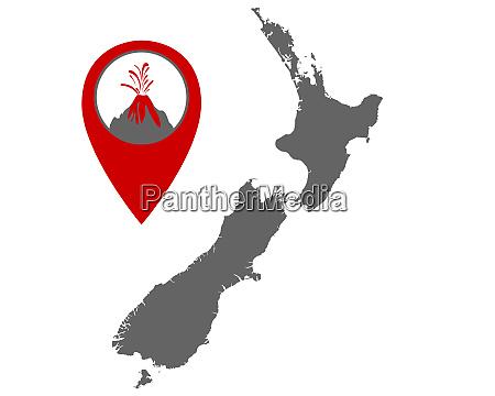 karte von neuseeland mit anzeiger fuer