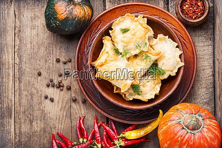 homemade dumplings with pumpkin