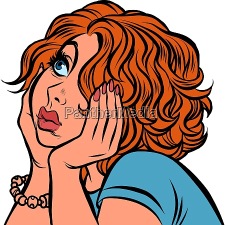 red haired young woman sad