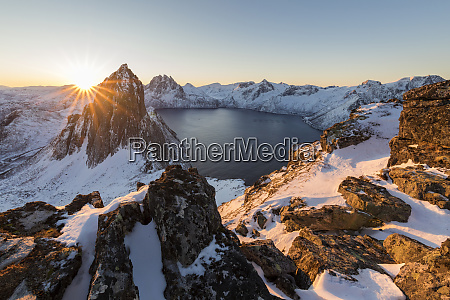 first light of sunrise on mount