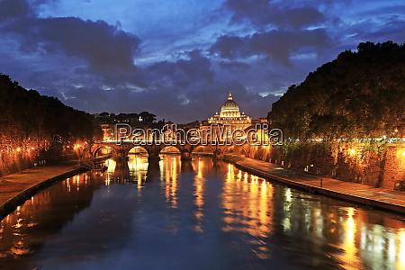view across tiber river towards st