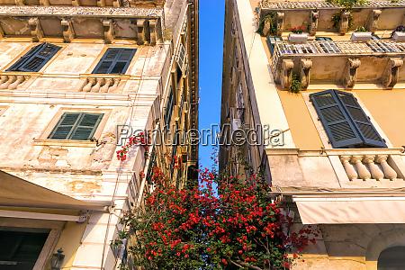 colorful building facade in corfu greece