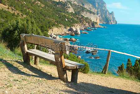 bench with seaside view