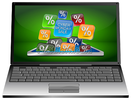laptop with colorful cyber monday sale