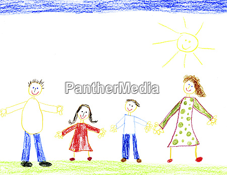 childrens drawing of happy family