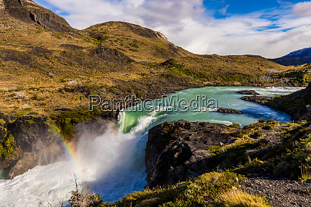 beautiful rainbow over torres del paine