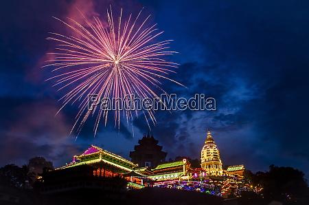 fireworks celebrating chinese new year kek