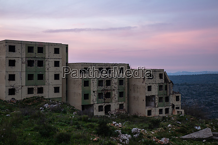 war ruins during sunset in spring
