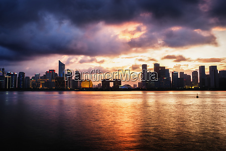 dramatic clouds over qianjiang river with