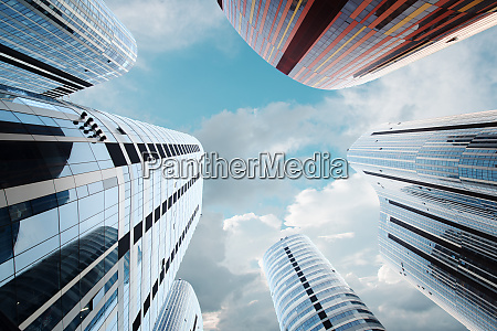 looking up in futuristic sanlitun soho