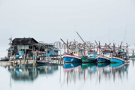shrimp fishing boats and house koh