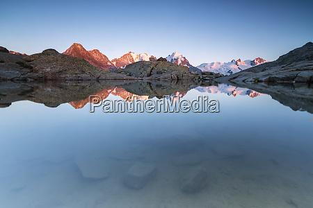 snowy peaks reflected in the alpine