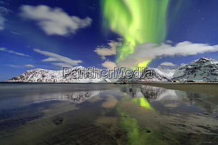 northern lights aurora borealis and mountains