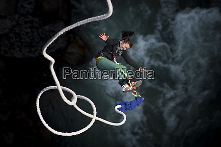 a nepali girl bungy jumping at