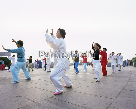 early morning tai chi exercises in