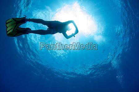 free diving snorkeller and sunburst on