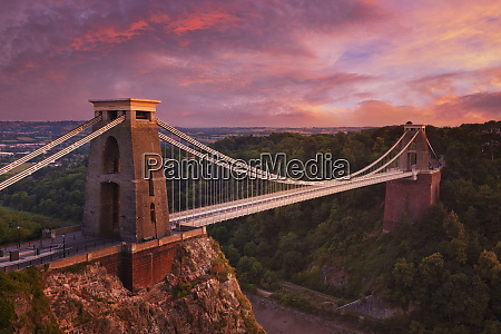 clifton suspension bridge at sunset clifton