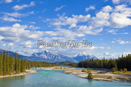 the athabasca river flowing through jasper