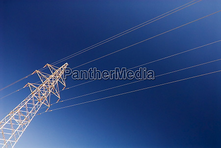 electricity pylon against blue sky dunhuang
