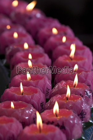 lotus candles placed by devotees in