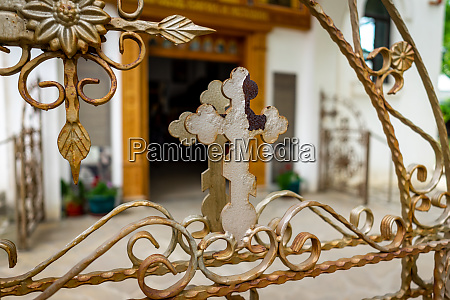 detail of an ornate church fence