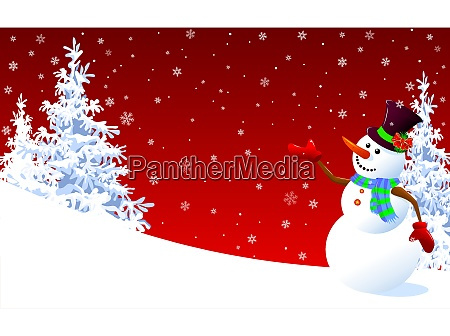 cute, snowman, greeting, on, a, red - 27271338