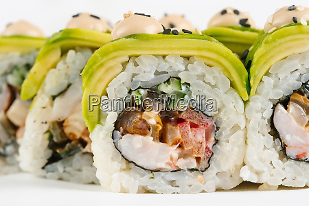 sushi with avocado and vegetables