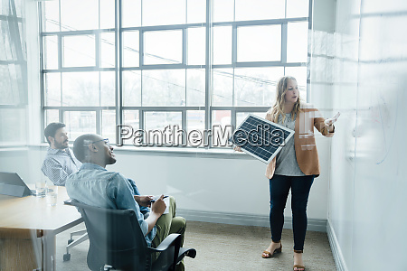 woman using diagram during board room