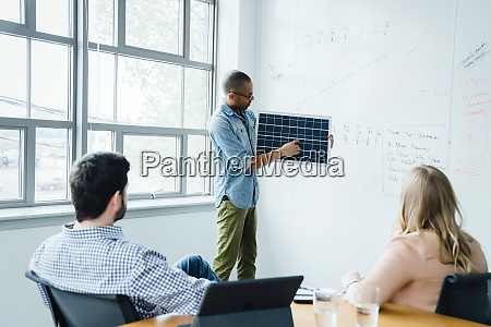 man using diagram during board room