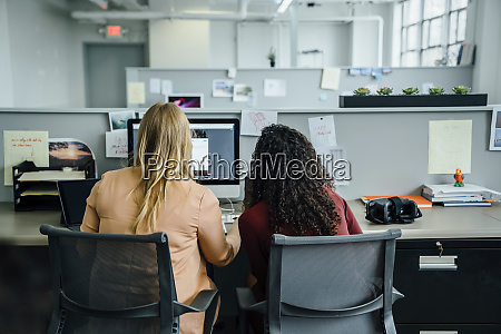 women using computer in office