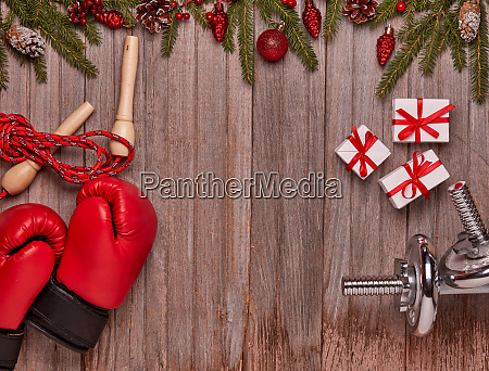 sport equipment and christmas decorations fitness