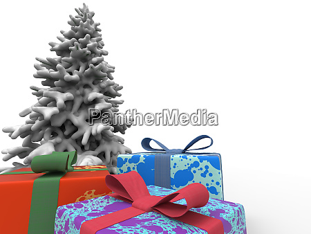 colorful gifts and christmas tree with