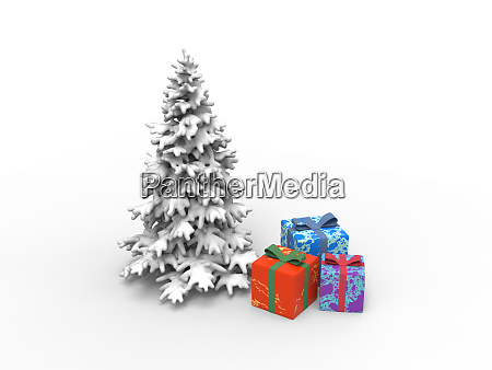 christmas tree with snow and gifts