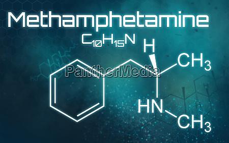 chemical formula of methamphetamine on a