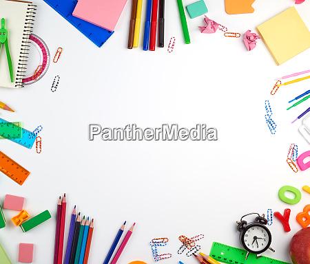 school supplies multicolored wooden pencils paper