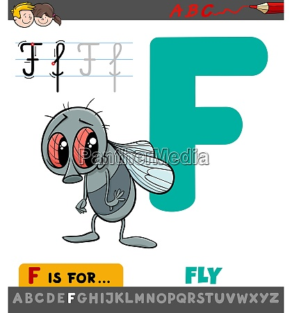 letter f worksheet with cartoon fly