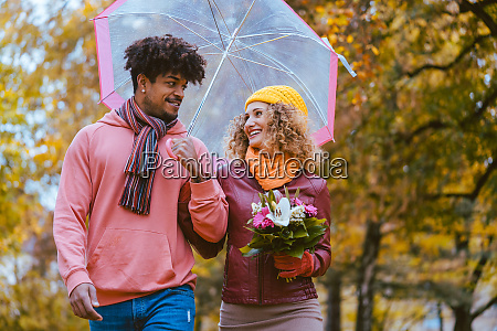 couple with different ethnicities having a