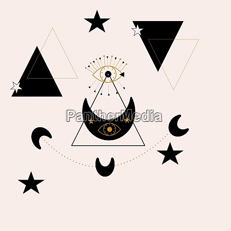 geometric elements and gold and black
