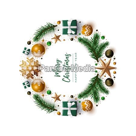 christmas wreath design with festive christmas