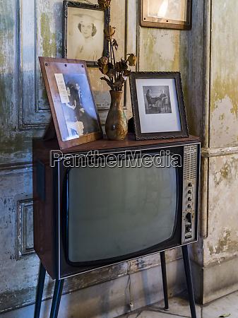 vintage television set in a living