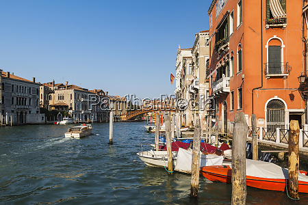 moored boats on grand canal and