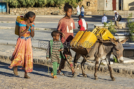 ethiopian children with a donkey carrying
