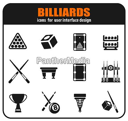 billiards icon set