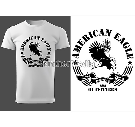 white t shirt with eagle drawing