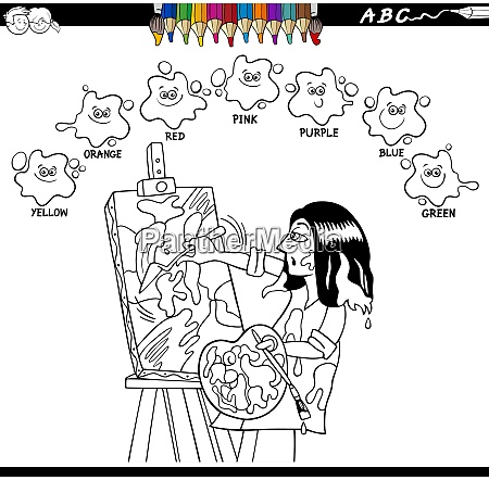 basic colors coloring book with artist