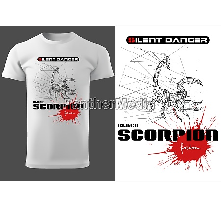 white t shirt with abstract scorpion