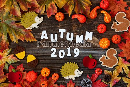 colorful autumn decoration text autum 2019