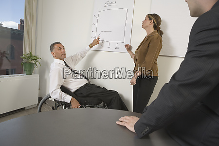 side profile of a businessman giving