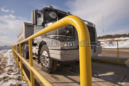 semi truck on a weighing scale